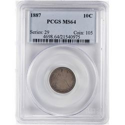 1887 Seated Liberty Dime Coin PCGS MS64