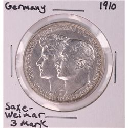1910 Germany Saxe-Weimar 3 Mark Silver Coin