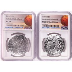 Lot of (2) 2020 P $1 Basketball Hall of Fame Silver Coin NGC MS/PF70