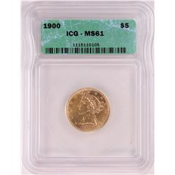 1900 $5 Liberty Head Half Eagle Coin ICG MS61