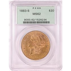 1883-S $20 Liberty Head Double Eagle Gold Coin PCGS MS62 Old Green Holder