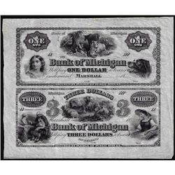 Half Sheet of 1800's $1 and $3 The Bank of Michigan Marshall, MI Obsolete Notes