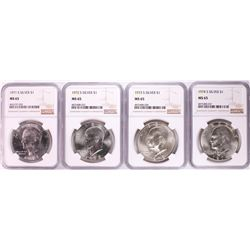 Lot of 1971-S to 1974-S Eisenhower Silver Dollar Coins NGC MS65