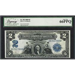 1899 $2 Mini-Porthole Silver Certificate Note Fr.253 Legacy Gem New 66PPQ