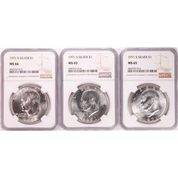 Lot of (3) 1971-S Eisenhower Silver Dollar Coins NGC MS65/66
