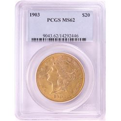 1903 $20 Liberty Head Double Eagle Gold Coin PCGS MS62