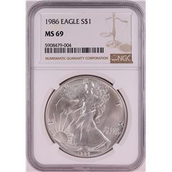 1986 $1 American Silver Eagle Coin NGC MS69
