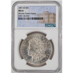 1891-CC $1 Morgan Silver Dollar Coin NGC MS61