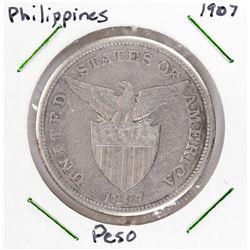 1907 Philippines 1 Peso Silver Coin