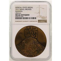 1971 Israel Bronze Official State Medal Masada NGC MS66 Antiqued