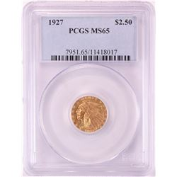 1927 $2 1/2 Indian Head Quarter Eagle Gold Coin PCGS MS65