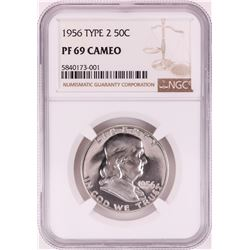 1956 Type 2 Proof Franklin Half Dollar Coin NGC PF69 Cameo