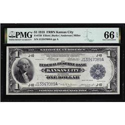 1918 $1 Federal Reserve Bank Note Kansas City Fr.738 PMG Gem Uncirculated 66EPQ