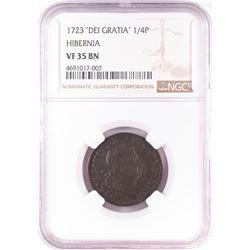 1723 'Dei Gratia' 1/4P Hibernia Coin NGC VF35 BN