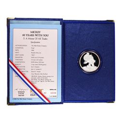 "1988 Rarities Mint Disney ""A Mouse of All Trades"" 1 oz Fine Silver Round w/Box & COA"