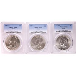 Lot of (3) 1974-S Eisenhower Silver Dollar Coins PCGS MS66