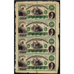 Uncut Sheet of (4) 1800's $50 Citizens Bank of Louisiana at Shreveport Obsolete Notes