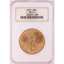 1923 $20 St. Gaudens Double Eagle Coin NGC MS61 - Chipped Slab