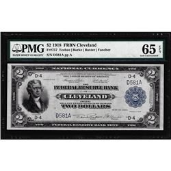 1918 $2 Federal Reserve Bank Note Cleveland Fr.757 PMG Gem Uncirculated 65EPQ