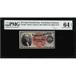 1863 25 Cents Fourth Issue Fractional Note Fr.1307 PMG Choice Uncirculated 64EPQ