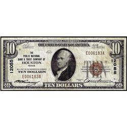 1929 $10 Public National Bank & Trust Co. Houston, TX CH# 12055 National Currency Note
