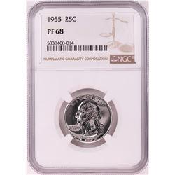 1955 Proof Washington Quarter Coin NGC PF68