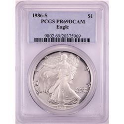 1986-S Proof $1 American Silver Eagle Coin PCGS PR69DCAM