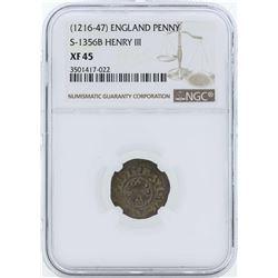 1216-1247 England Penny S-1356B Henry III NGC XF45