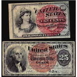 Lot of 1863 Fourth issue Ten Cents and Twenty-Five Cents Fractional Currency Notes