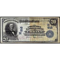 1902PB $20 Champaign National Bank of Urbana, OH CH# 916 National Currency Note