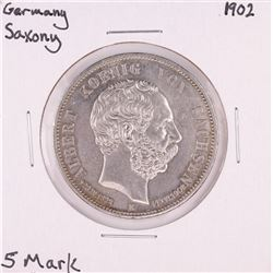 1902 Germany Saxony 5 Mark Silver Coin