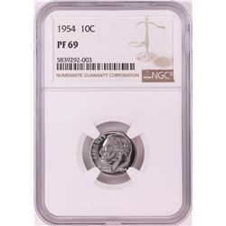 1954 Proof Roosevelt Dime Coin NGC PF69