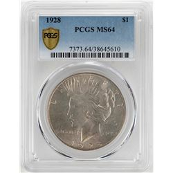 1928 $1 Peace Silver Dollar Coin PCGS MS64