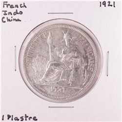 1921 French Indo China 1 Piastre Silver Coin