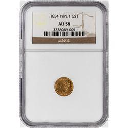 1854 Type 1 $1 Liberty Head Gold Dollar Coin NGC AU58