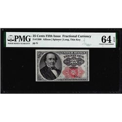 1874 25 Cent Fifth Issue Fractional Note Fr.1308 PMG Choice Uncirculated 64EPQ