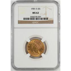 1901-S $5 Liberty Head Half Eagle Gold Coin NGC MS62