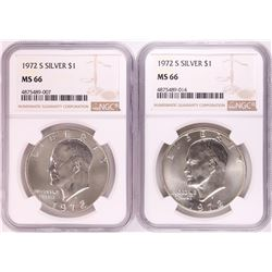 Lot of (2) 1972-S Eisenhower Silver Dollar Coins NGC MS66