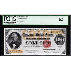 1922 $100 Gold Certificate Note Fr.1215 PCGS New 62
