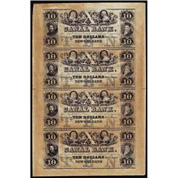 Uncut Sheet of (4) 1800's $10 Canal Bank New Orleans, Louisiana Obsolete Notes