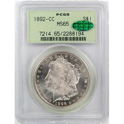 1892-CC $1 Morgan Silver Dollar Coin PCGS MS65 CAC Old Green Holder
