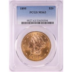 1895 $20 Liberty Head Double Eagle Gold Coin PCGS MS63
