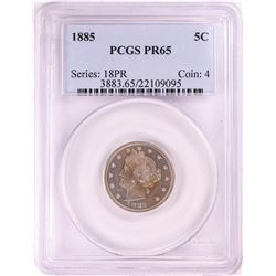 1885 Proof Liberty V Nickel Coin PCGS PR65
