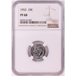1953 Proof Roosevelt Dime Coin NGC PF68