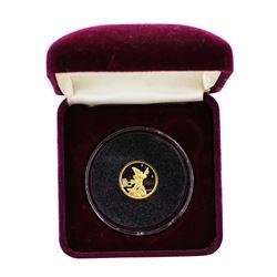 1989 Rarities Mint Disney Mickey Good Luck 1/10 Oz. Gold Coin w/ Box