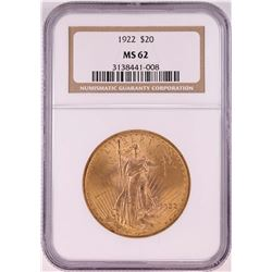 1922 $20 St. Gaudens Double Eagle Coin NGC MS62