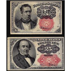 Lot of (2) 1874 10 Cent and 25 Cent Fifth issue Fractional Currency Notes