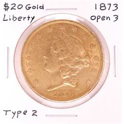 1873 $20 Open 3 Type 2 Liberty Head Double Eagle Gold Coin