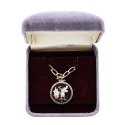 1987 Disney Necklace Steamboat Willie 1/10 oz .999 Fine Silver Medal w/Box