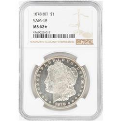 1878 8TF $1 Morgan Silver Dollar Coin NGC MS62 Star VAM-19